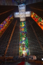 Stained glass mosaics inside the cathedral