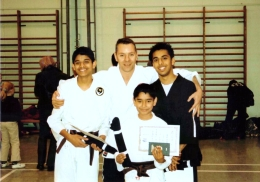 Black Belt grading - Me, Jay, Janak with Sensei in 2003